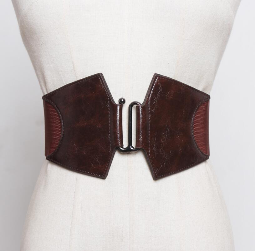 Women's Runway Fashion Pu Leather Elastic Cummerbunds Female Dress Corsets Waistband Belts Decoration Wide Belt R2621