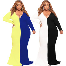 AYES Plus Size L-5xl Dress Women Elegant Maxi Dress New Fashion Sexy Bodycon Deep V Neck Vintage Party Vestidos Large Size Dress