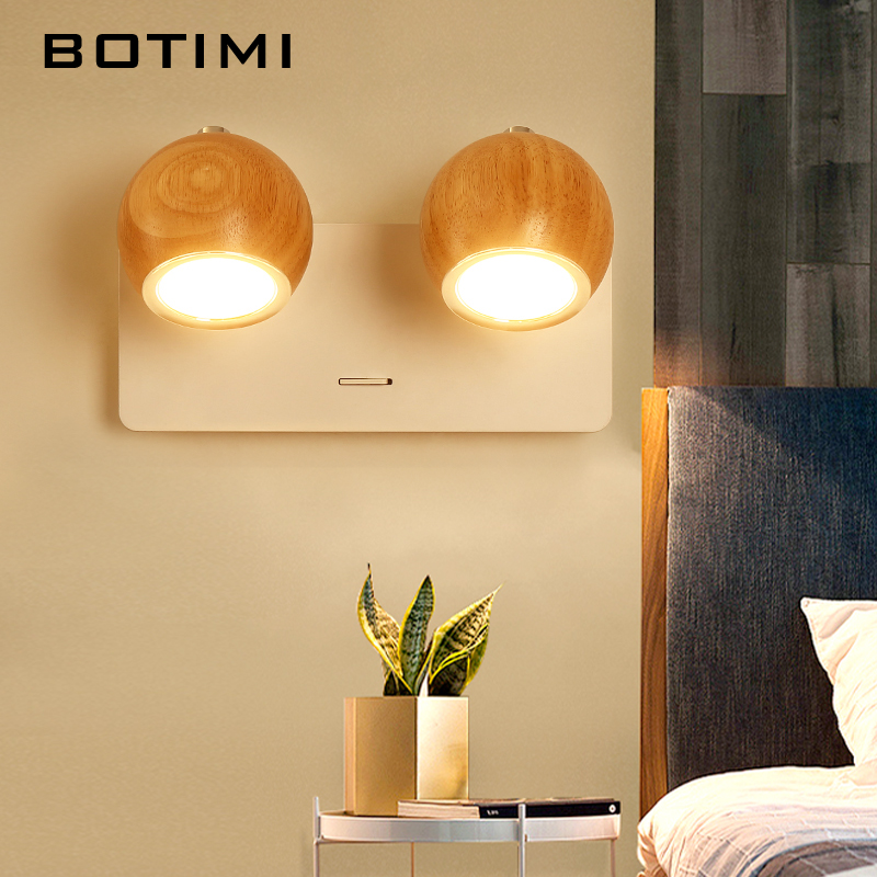 BOTIMI Modern LED Wall Lamp Wooden Wall Sconce Adjustable Luminaira Metal Bedside Lights White Reading Lighting Fixture-in LED Indoor Wall Lamps from Lights & Lighting