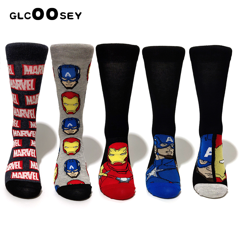 10 Pairs/Pack Comics Hero General Socks Cartoon Iron Man Captain America Knee-High Warm Stitching Pattern Increase Size Big Sock
