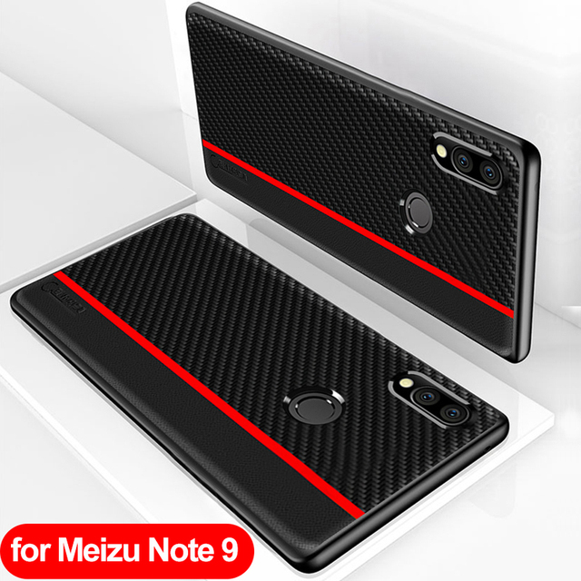Funda de protección para Meizu Note 9, funda trasera de piel sintética de fibra de carbono para Meizu Note 9, carcasa para Meizu Note 9