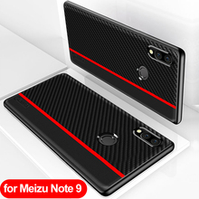 for Meizu Note 9 Case Global Version Carbon Fiber PU Leather Protection Back Cover for Meizu Note 9 Cover for Meizu Note9 Case