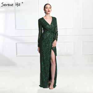 Image 1 - Serene Hill Fashion V Neck Sleeping Style Green Evening Dress 2020 Beading Diamond Long Sleeves Formal Party Gown CLA6004