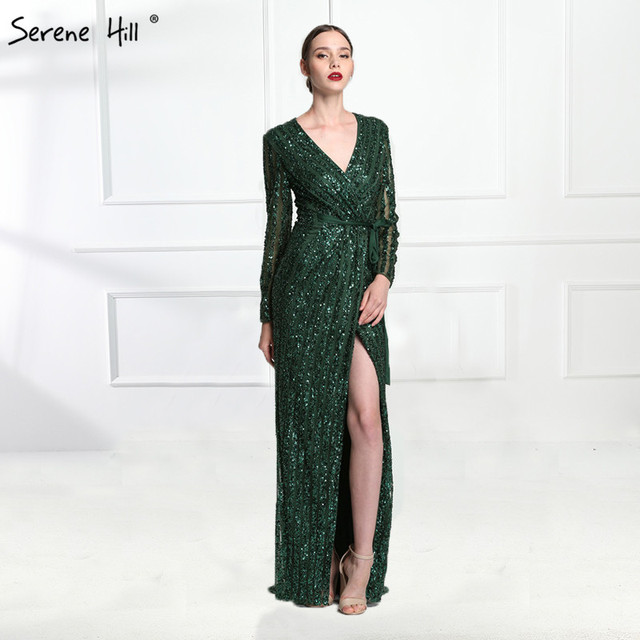 Serene Hill Fashion V Neck Sleeping Style Green Evening Dress 2020 Beading Diamond Long Sleeves Formal Party Gown CLA6004