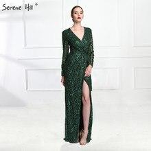 고요한 힐 패션 v 목 슬리핑 스타일 그린 이브닝 드레스 2020 구슬 다이아몬드 긴 소매 정장 파티 가운 CLA6004