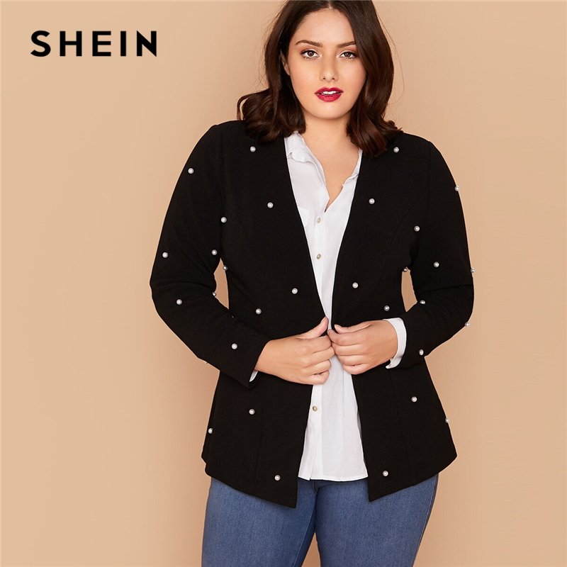 SHEIN Plus Size Black Hook And Eye Pearls Beaded Blazer Women Autumn Slim Fit Long Sleeve Elegant Plus Blazers
