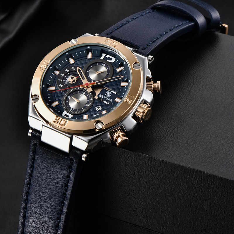 2019 neue BENYAR Marke Männer Quarzuhr Luxus Military Sport Chronograph Business Wasserdichte Leder Uhren Relogio Masculino
