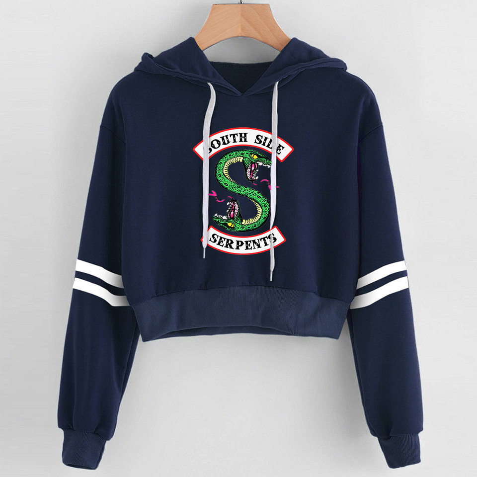 Women Print Riverdale Hoodie Sweatshirt Long Sleeve Harajuku Hoodies Women Crop Top Shirt Pullovers Clothes