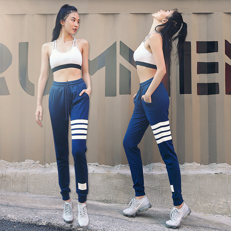 New Style Fashion Yoga Clothes WOMEN'S Suit INS Cross-back Sports Brassiere Europe And America Stripes Yoga Pants Two-Piece Set