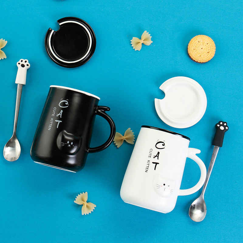 Cup Ceramic Cup Female Student Cute Mug with Lid with Spoon Teacup Korean Couple Drinking Cup Coffee Cup Stainless Steel Cup