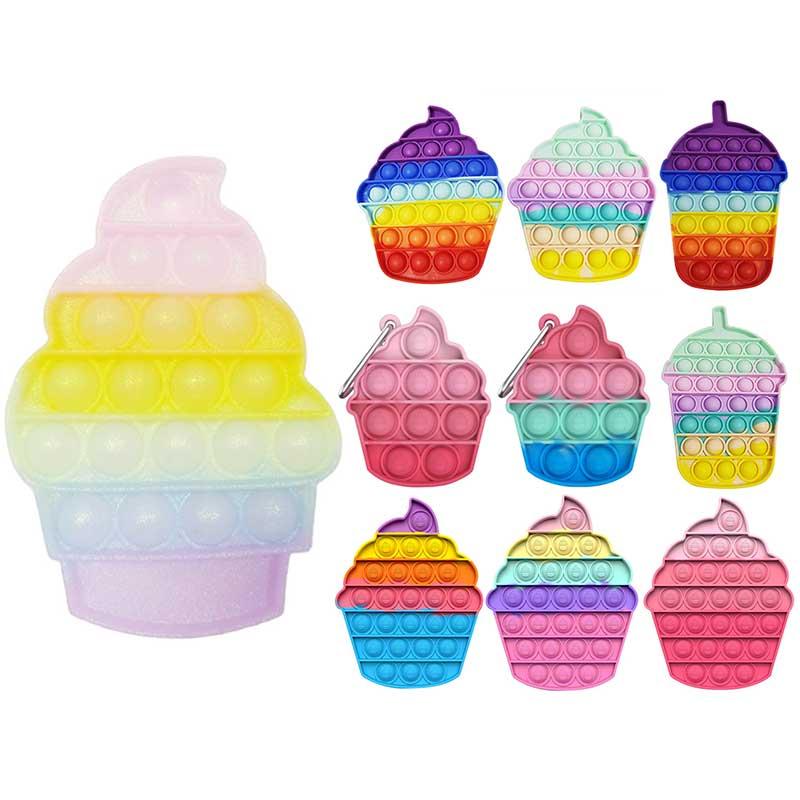 Силиконовая поп-игрушка для мороженого, нажимная игрушка для пузырьков, нажимная игрушка, Непоседа, сенсорная аутизм, сжимаемая забавная иг...