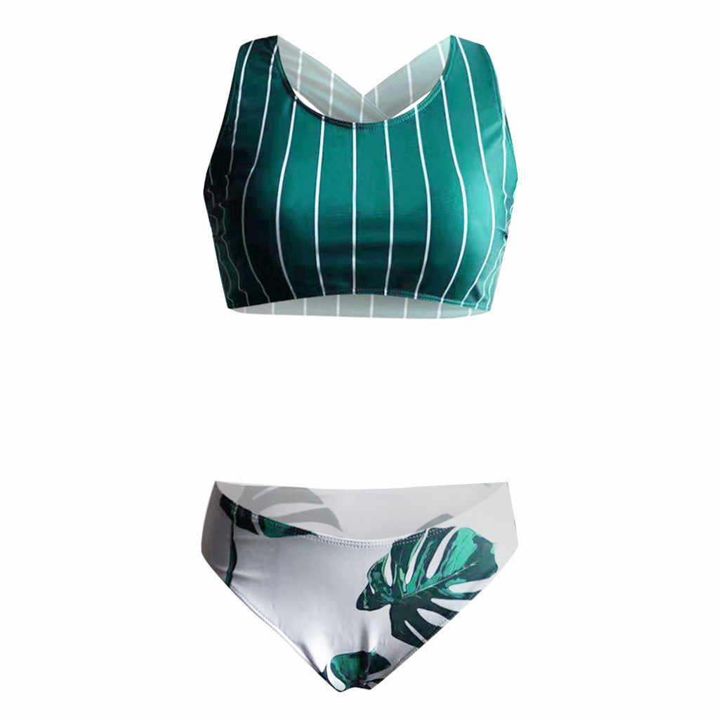 Kancoold maiô feminino sexy teal listra folhas impressão cruz biquíni beachwear diário mar piscina banho feminino 2020jan28