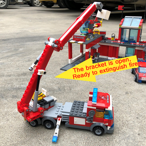 Image 4 - Modelo de estação de bombeiros da cidade conjuntos de blocos de construção caminhão bombeiro tijolos educativos brinquedos para crianças presentes