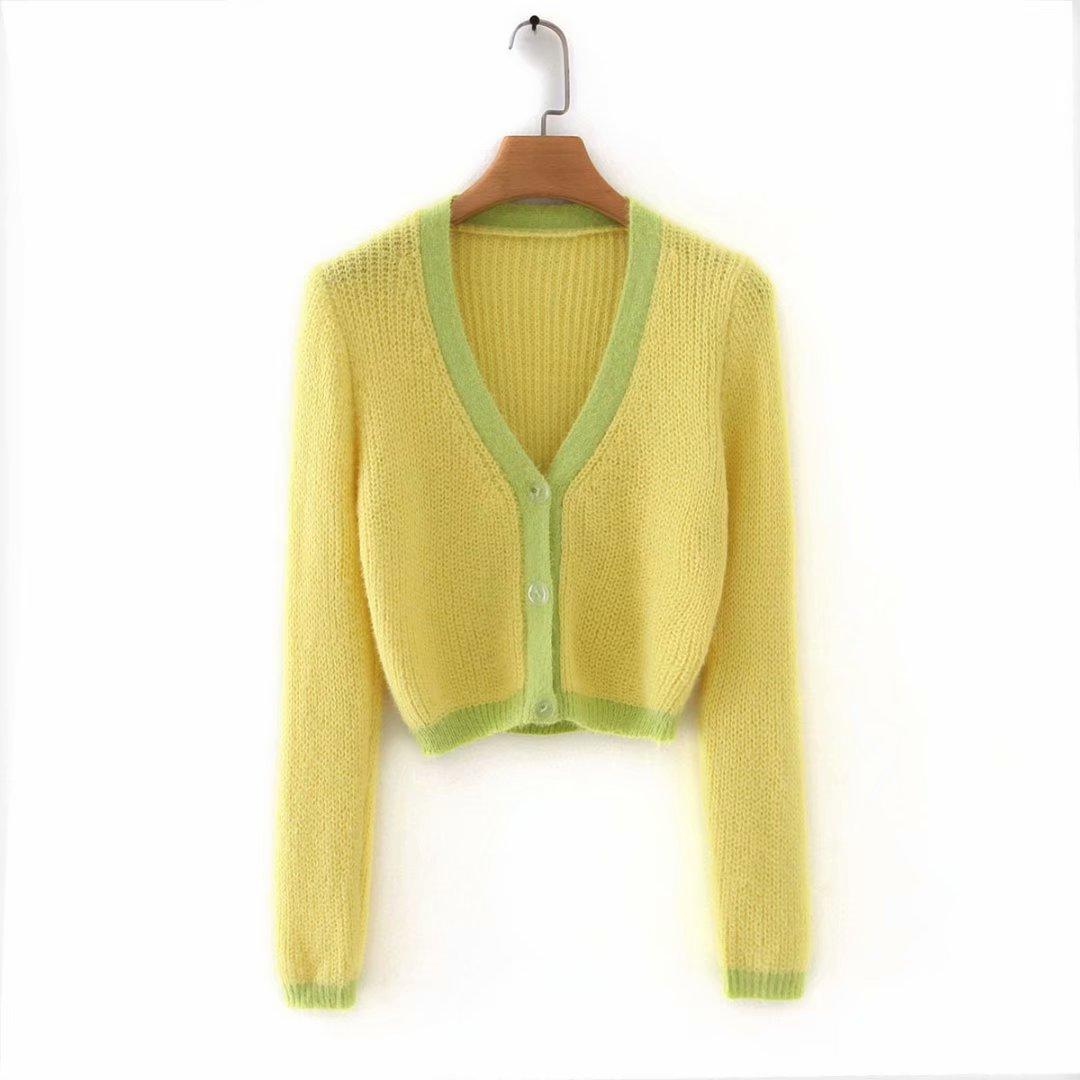 Pink cardigan womens sweaters korean crop sweater yellow autumn tops short sleeve v neck short cardigan mohair sweater fall 19 22