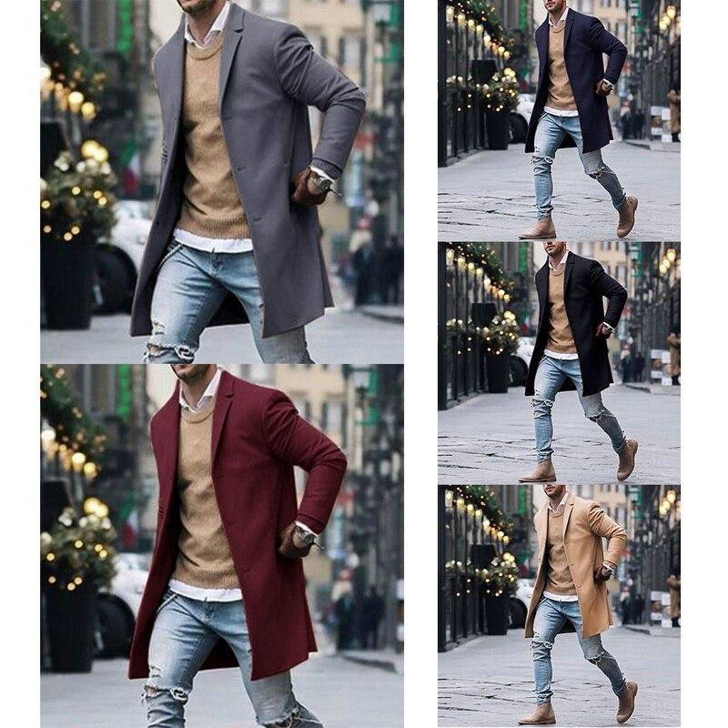 2019 Winter Wool Jacket Men's High-quality Wool Coat Casual Slim Collar Woolen Coat Men's Long Cotton Collar Trench Coat 12