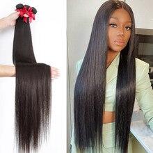 Em linha reta 28 30 32 40 Polegada remy tecer cabelo brasileiro feixes de cabelo humano osso cabelo reto cor natural 100% extensão do cabelo humano