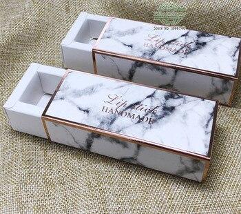 2.6*2.6*8.6cm Kraft Paper Drawer Box Marbling Lipstick Packing Small Paper Box Gift Boxes