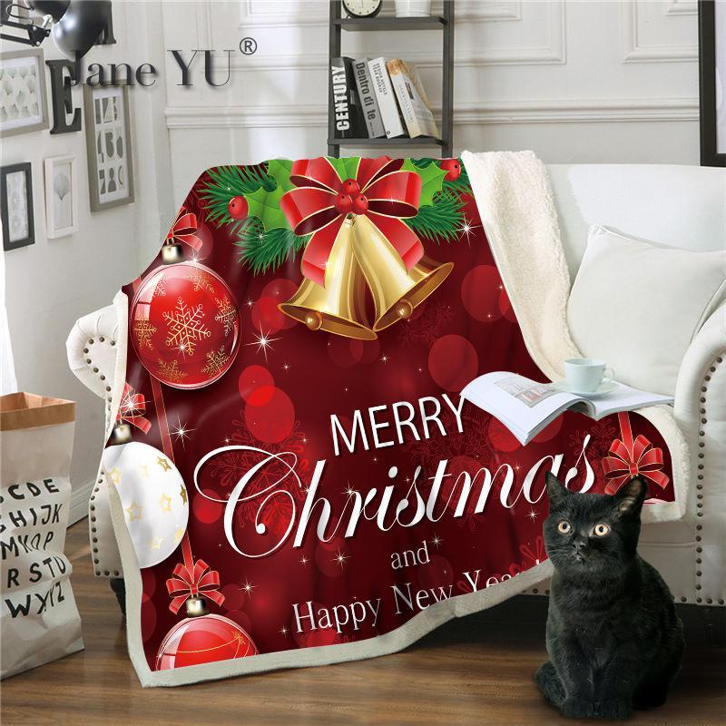 JaneYU 3D печать Санта Клаус персонажа серии многоцелевой одеяло зимний бросок - 5