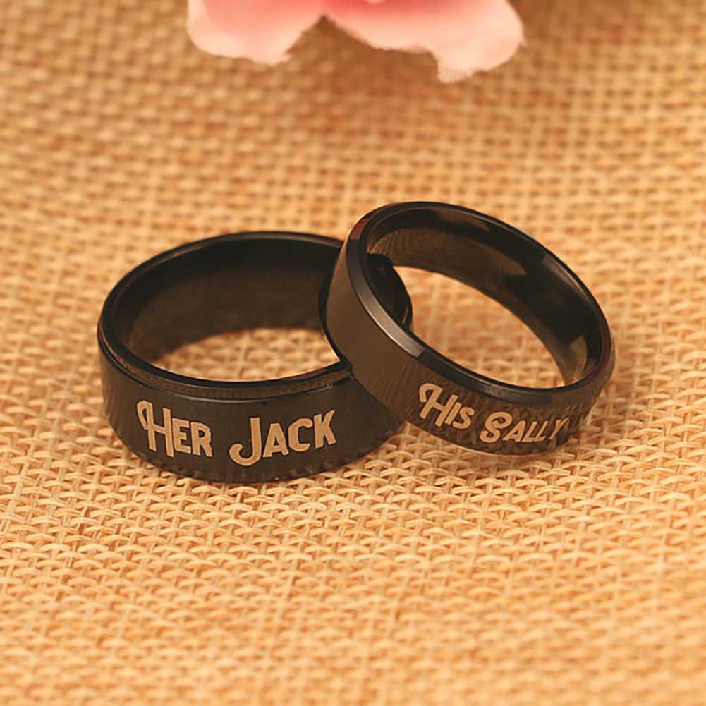Regalo de San Valentín para amantes del anillo a juego romántico de acero de titanio de buselans su novia Jack