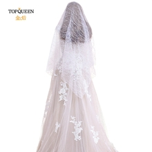 TOPQUEEN Glitter Hot Sale Sparkling High Quality 1 Layer  Wedding Veils White/ Ivory Bridal Accessories Cheap VB10