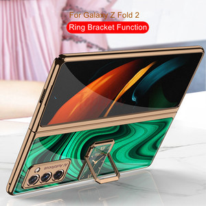 Image 2 - Finger Ring Bracket Case for Samsung Galaxy Z Fold 2 5G Case Plating Hard Glass Protective Cover for Galaxy Z Fold2 5G