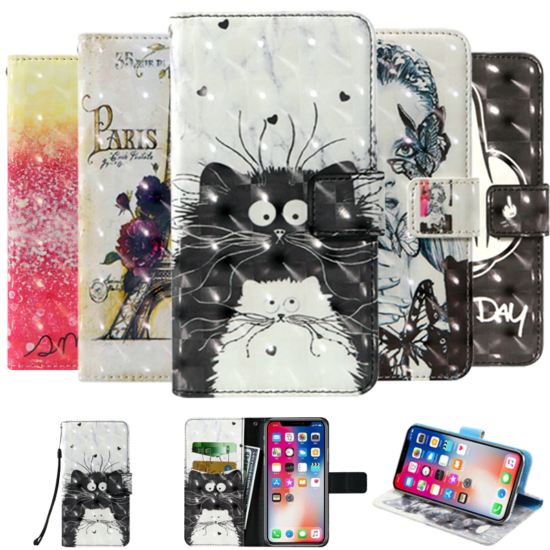 3D flip wallet Leather case For Digma VOX S502F S503 S504 S505 4G 3G <font><b>DNS</b></font> S4505M <font><b>S4502</b></font> S4506 S4503Q S5004 S5005 S4501M Phone Case image