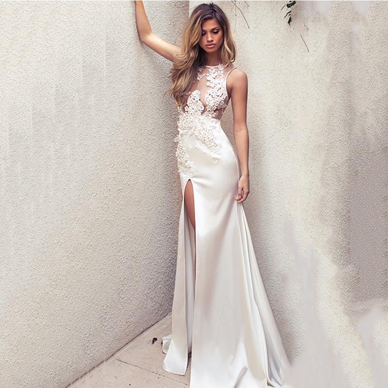 Eightree Side Slit Mermaid Wedding Dresses 2020 Flowers Appliques Turkey Bespoke Wedding Dress O Neck Robe De Soiree Sleeveless