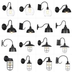 AC 110 В-240 В, винтажная Водонепроницаемая настенная лампа E27, светодиодная лампа, черный металлический корпус, ретро-светильник, фойе, для спал...