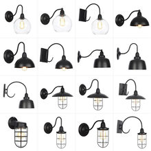 Lámpara de pared Vintage impermeable para interiores y exteriores, bombilla Led E27, cuerpo de Metal negro, vestíbulo, dormitorio, comedor, AC 110v-240v