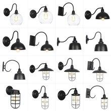 AC 110 v-240 v lámpara de pared impermeable de la vendimia de interior al aire libre E27 bombilla Led negro Metal cuerpo Retro Luz vestíbulo dormitorio comedor