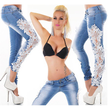 2020 New Black White Lace Patchwork Women Jeans Hot Sexy Den