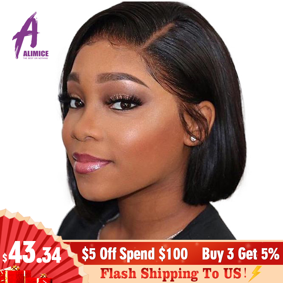 13x4 Lace Front Wig Indian Straight Pre Plucked Short Bob Wigs Remy Human Hair Wig Short Bob Wig Bleached Knot For Black Women