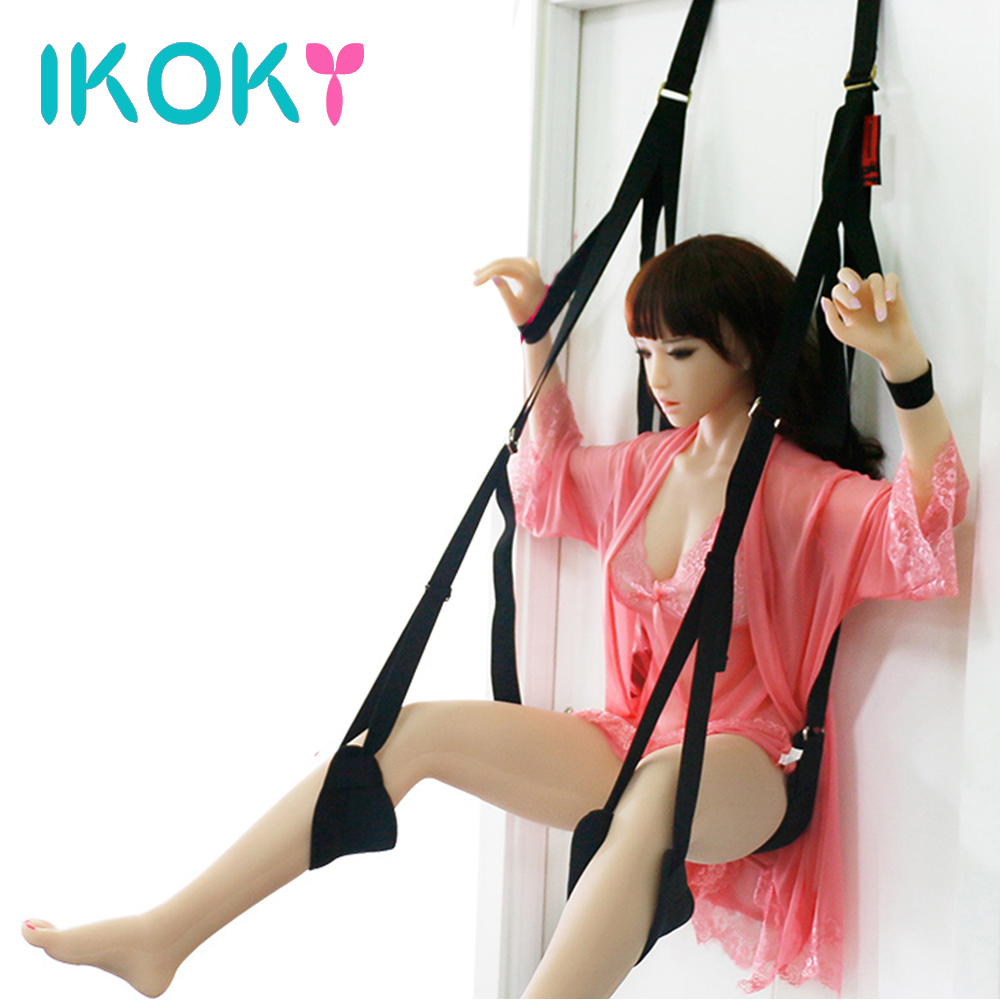 IKOKY Sex Swing Erotic Fetish Bandage Love Adult Game Chairs Soft Material Sex Furniture Sex Toys For Couples Hanging Door Swing