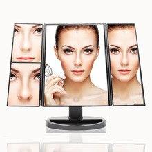 Зеркало для макияжа, настольный светодиодный светильник с трех сторон, складное многоугольное туалетное зеркало с сенсорным экраном, настольный Большой размер, заполняющий свет P