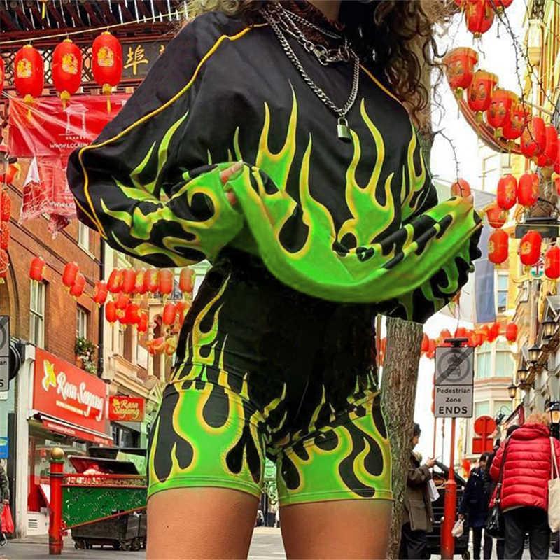 Rockmore Feuer Flamme Drucken Frauen T-shirt Streetwear Grundlegende T-shirt Harajuku Langarm Crop Top Gothic Plus Größe T-shirt herbst