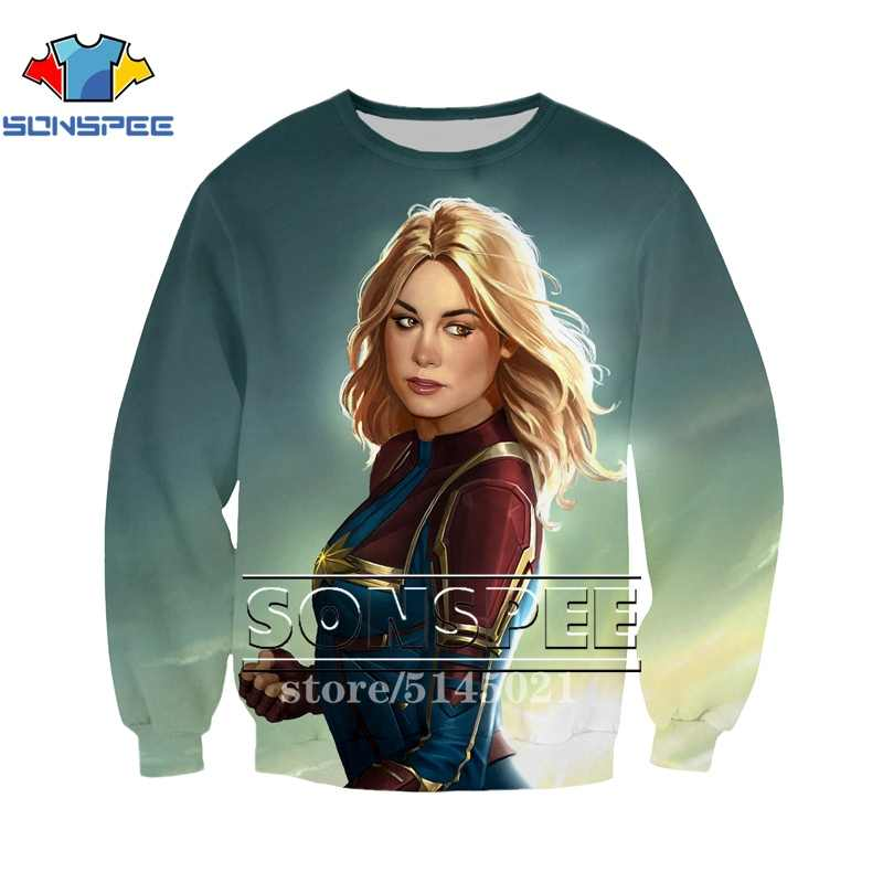 3D Print Men Women Sweatshirt New Brie Larson Marvel movie Captain sweatshirts Long sleeve tops pullover harajuku fashion tops