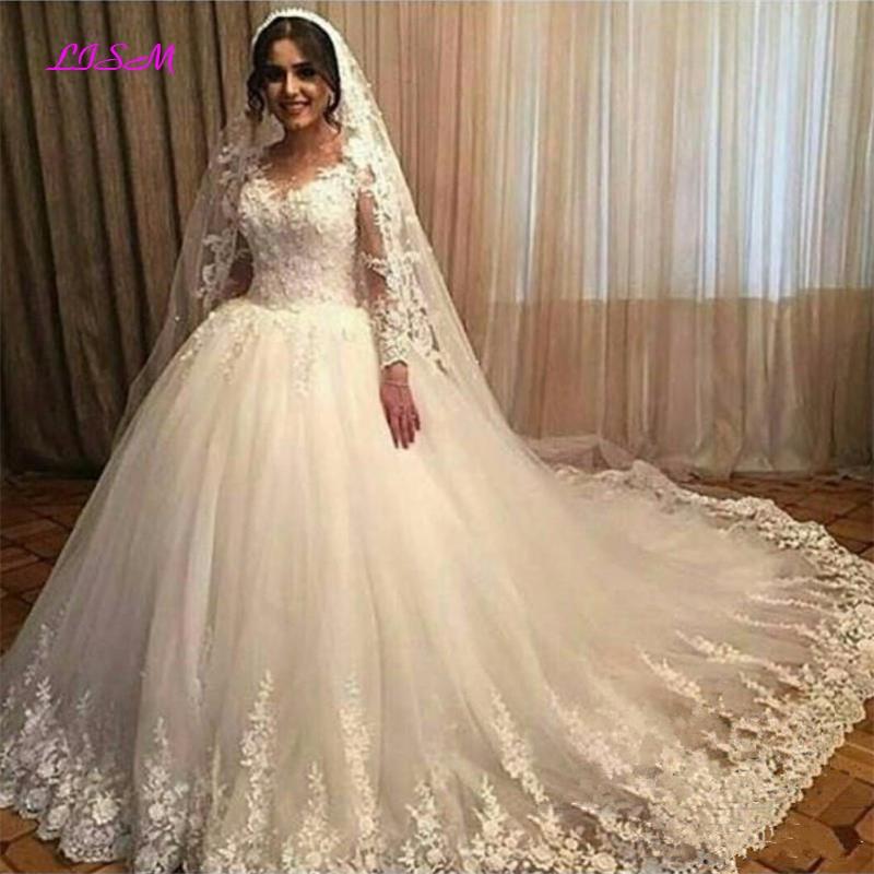 Scoop Long Sleeves Lace Appliqeus Tulle Wedding Dresses Plus Size Ball Gown Bridal Dress Lace Wedding Gowns Vestidos De Novia