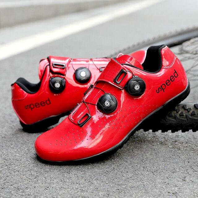 Sapatos de ciclismo de estrada colorido cor reflexiva mudando profissional mountain bike respirável bicicleta corrida auto-bloqueio sapatos 2
