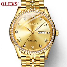 Winner Watch Men crystal diamond Mechanical Gold Diamond surface Business wristwatch Mens OLEVS clock Top Brand Luxury