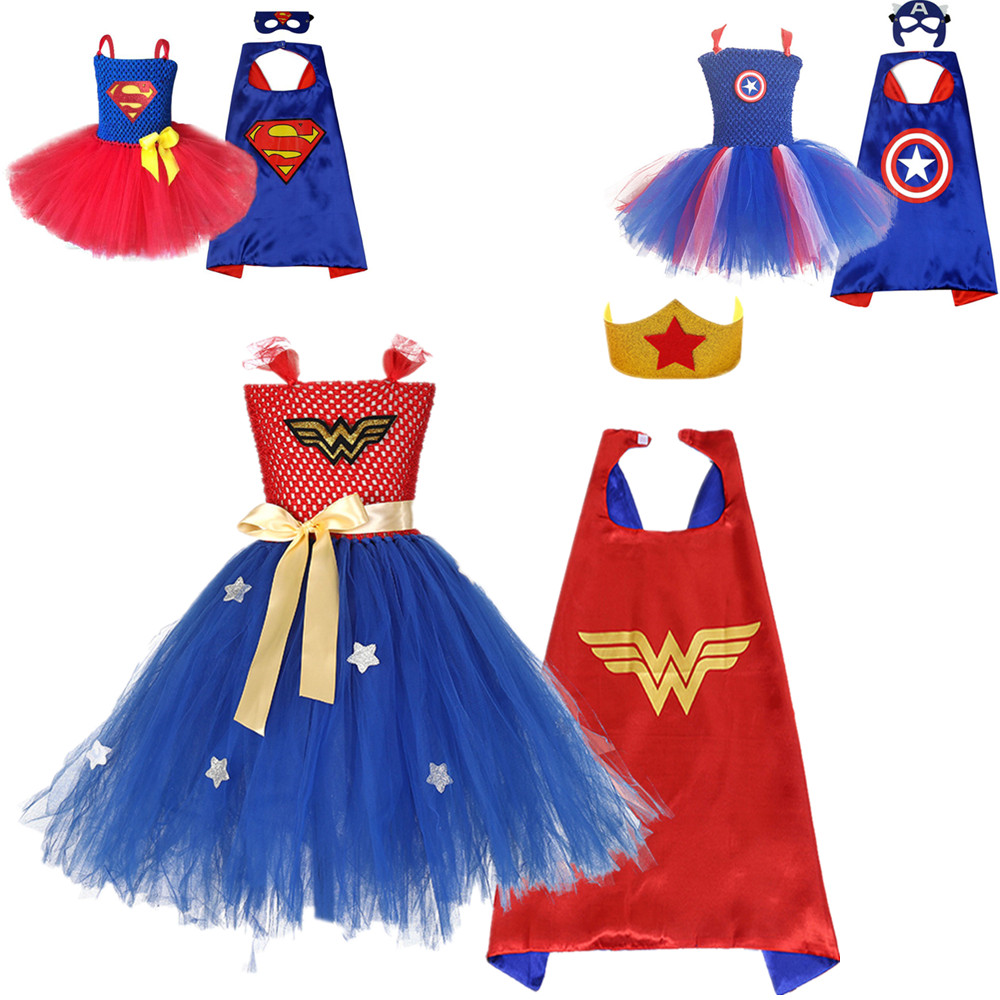 Girls Tutu Dress Superman Super Hero Inspired Baby Costume Kids Wonder Woman Captain America Cosplay Christmas Halloween Costume