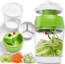 New Handheld Spiralizer Vegetable Fruit Slicer Adjustable Spiral Grater Cutter Salad Tools Spaghetti Maker Food Storage Bag