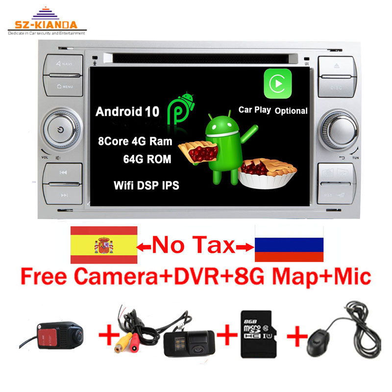 Free Shipping Android 10.0 Car DVD Player for <font><b>Ford</b></font> <font><b>Focus</b></font> Kuga Transit Wifi 3G <font><b>GPS</b></font> Bluetooth Radio RDS SD Steering Wheel Control image
