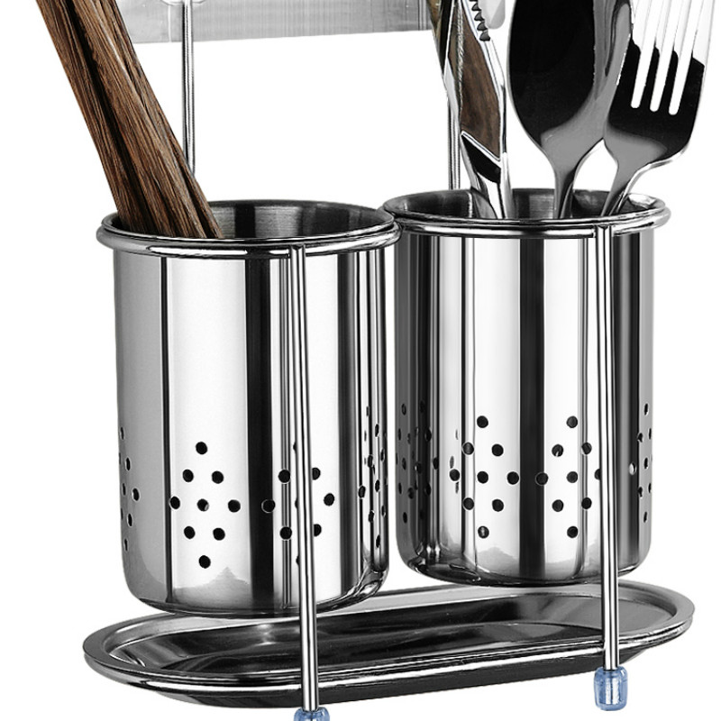 Creative Kitchen Household Rack Chopsticks Wall-mounted Stainless Steel Chopsticks Storage Bucket Drain RackLB112627