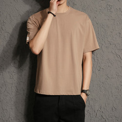 Autumn and winter new men's fashion slim solid color round neck Europe and the United States simple