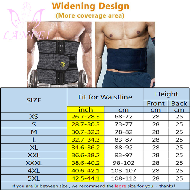 LANFEI Mens Thermo Neoprene Body Shaper Waist Trainer Belts Slimming Corset Waist Support Sweat Underwear Strap Modeling Shapers 3