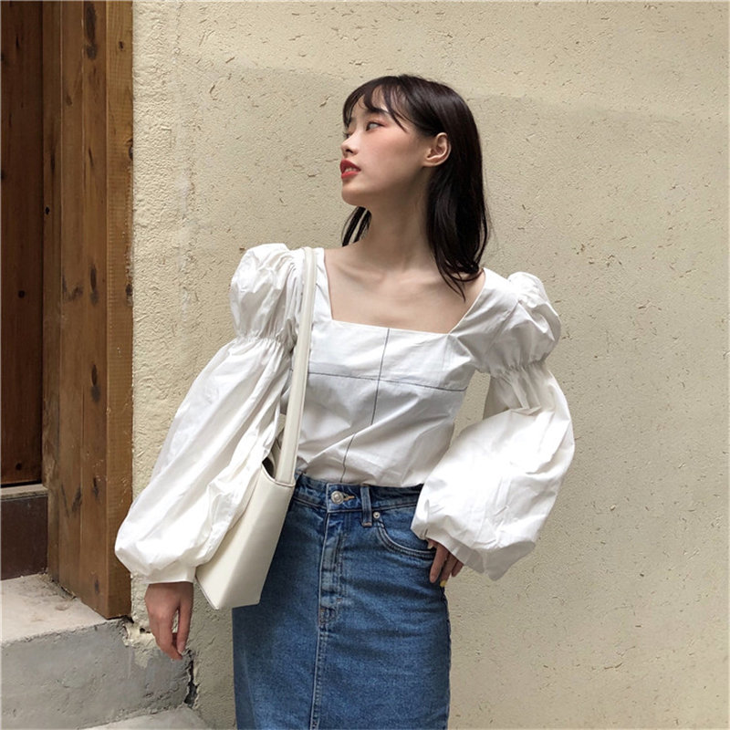 Alien Kitty Loose Fashion Square Collar Pleated Backless All-Match Casual Female Sweet High Quality Elegant Vintage Short Shirts