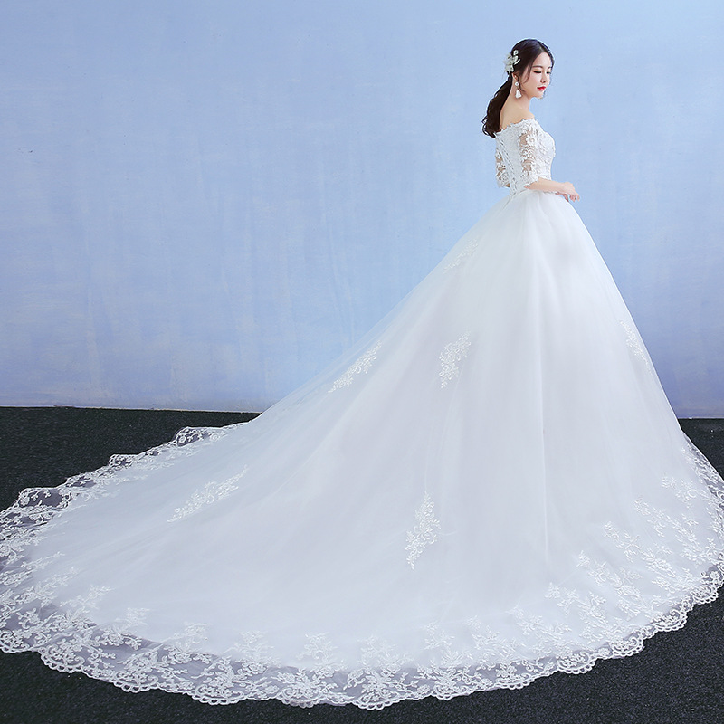 Simple Noble Boat Neck Half Sleeve Sweep Train Wedding Dress For Women Beautiful Lace Embroidery Princess Gown Vestido De Novia