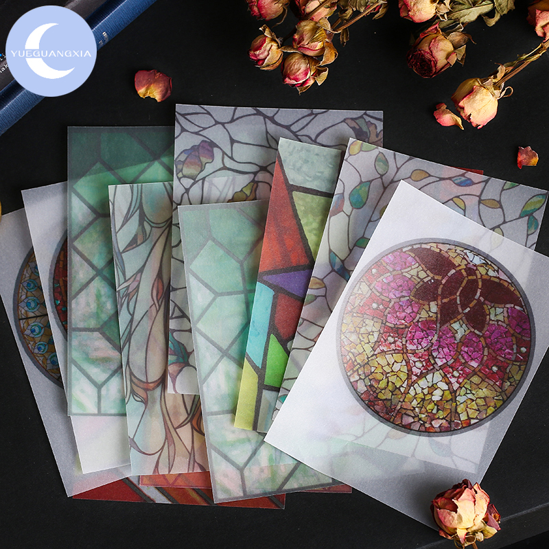 YueGuangXia Green Plant Retro Rainbow Artistic Texture Diary Memo Pads Transparent Sulphuric Acid Paper Loose Leaf Paper 30pcs