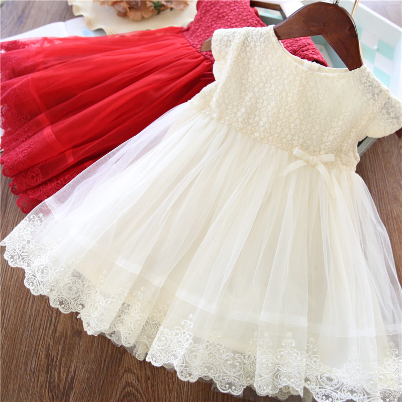 Lace Girl Party Dress Children Clothing Princess Kids Dresses For Girls Causal Wear 2 3 5 6 7 Years White Red Vestido Robe Fille