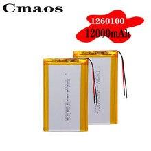 1/2/4 baterias recarregáveis do lítio do polímero de lipo dos pces 3.7v 1260100 12000mah de alta energia li-bloco da substituição da bateria do polímero